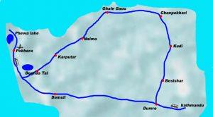 Ghale Gaun Tour packages, Ghalegaun tour, village tour package 2017/2018 Map